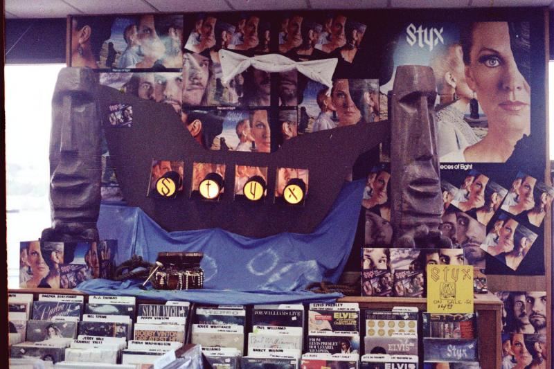 Tower Tacoma record display for the STYX album 'Pieces of Eight.'