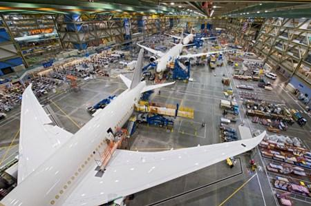 A view from inside a Boeing factory.