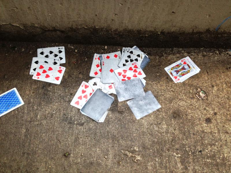 Playing cards on one of the ramps.