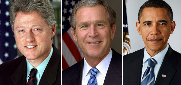 Bill Clinton, George Bush, Barack Obama