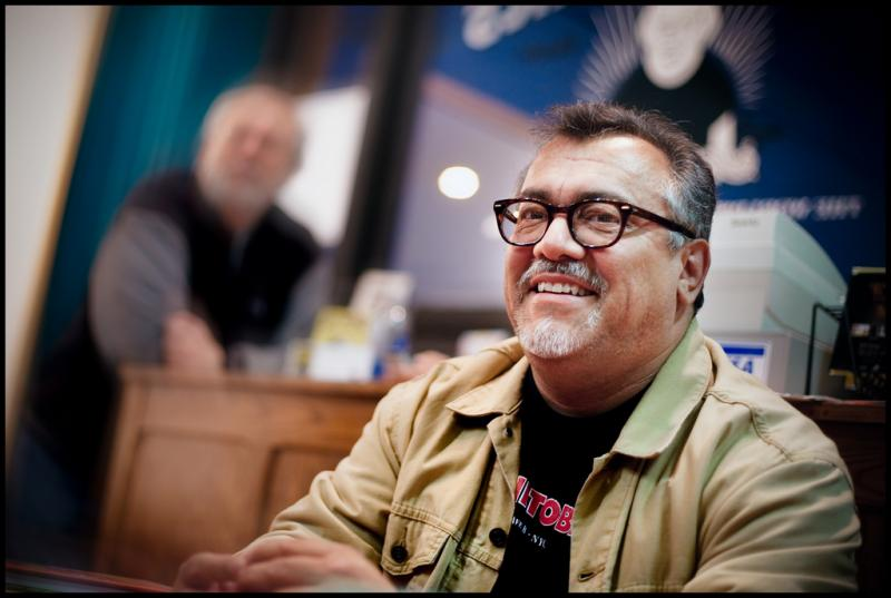 Gilbert Hernandez at a signing at Fantagraphic Gallery in Seattle.