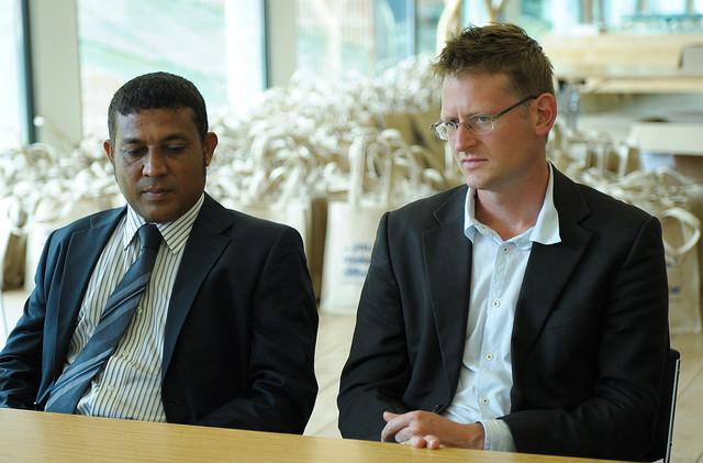 Former president of the Maldives Mohamed Nasheed and Mark Lynas meet at Keble Collage, Oxford, England. Lynas was the climate advisor to Nasheed during his presidency.