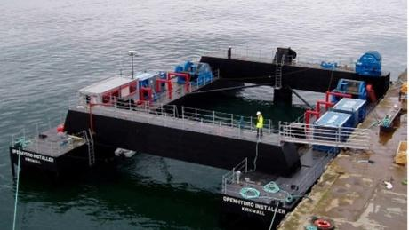 The two 350-ton turbines could be installed in 2014 if they receive final approval. This barge could be used to do the job.