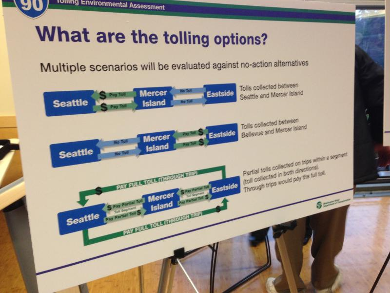 Different tolling scenarios are being studied. One calls for tolls only between Mercer Island and Seattle. Another would only toll the segment between Mercer Island and Bellevue. And a third scenario would toll drivers based on how far across they go.
