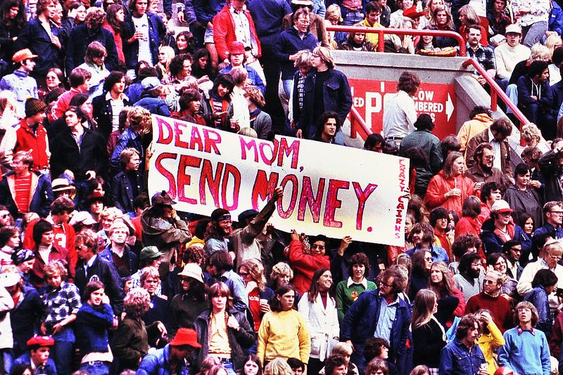 Peter Patau shares this photo from a University of Wisconsin, Madison, football game in 1979. He writes, 'Resident undergrad tuition and fees at UW-Madison were $769 for the 1979-80 academic year; [in 2012] they total $9,665.'