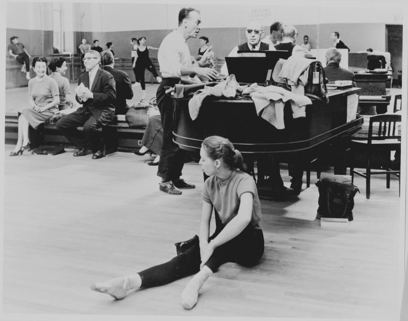 "Francia Russell rehearsing ""Agon"" at NYCB, with Balanchine and Stravinsky."