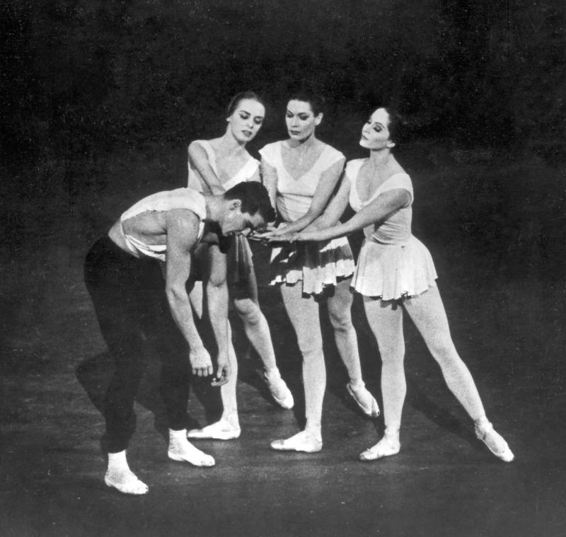 "NYCB's ""Apollo."" Francia Russell with Diana Adams, Jillana and Jacque D'Amboise."