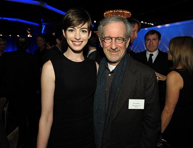Anne Hathaway, nominated for best actress in a supporting role for 'Les Miserables,' left, and Steven Spielberg, nominated for best picture and best director for 'Lincoln,' attend the 85th Academy Awards Nominees Luncheon on Monday, Feb. 4, 2013.