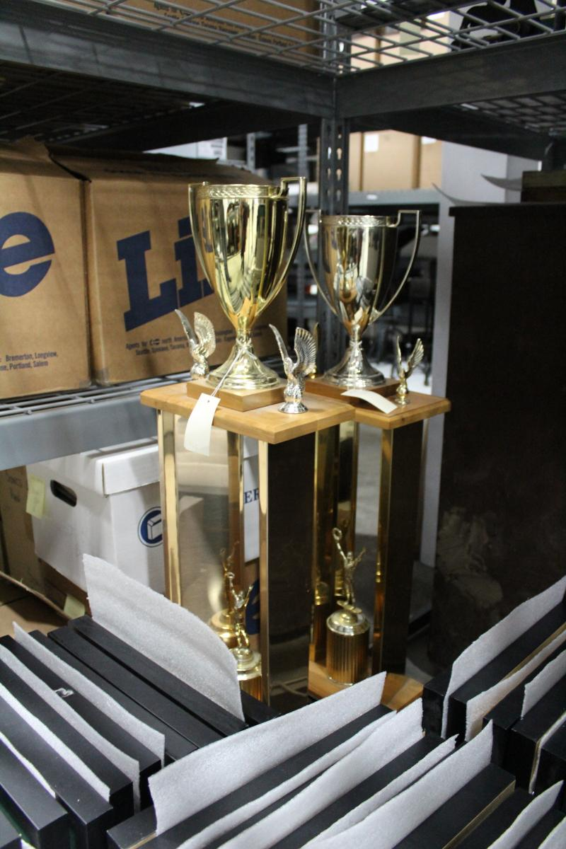 The Sonics' 1978 and 1979 Western Conference trophies in storage at MOHAI