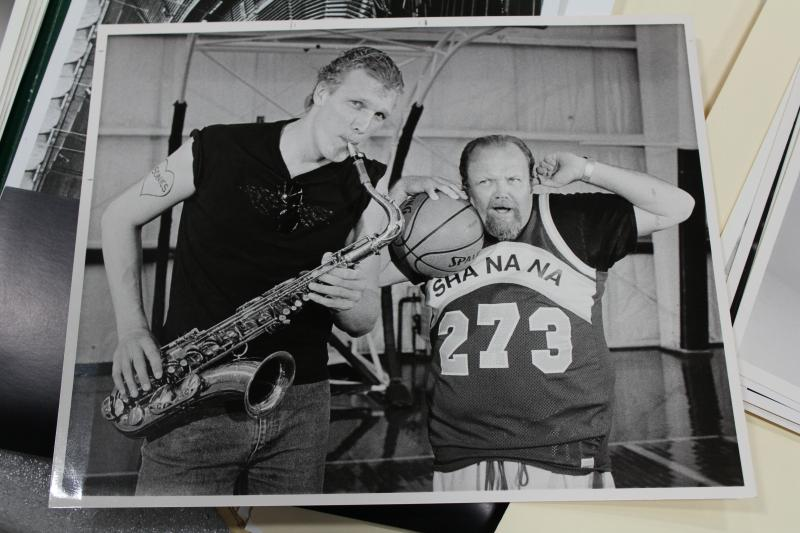 Photo of Sonics' center Jack Sikma playing the saxophone