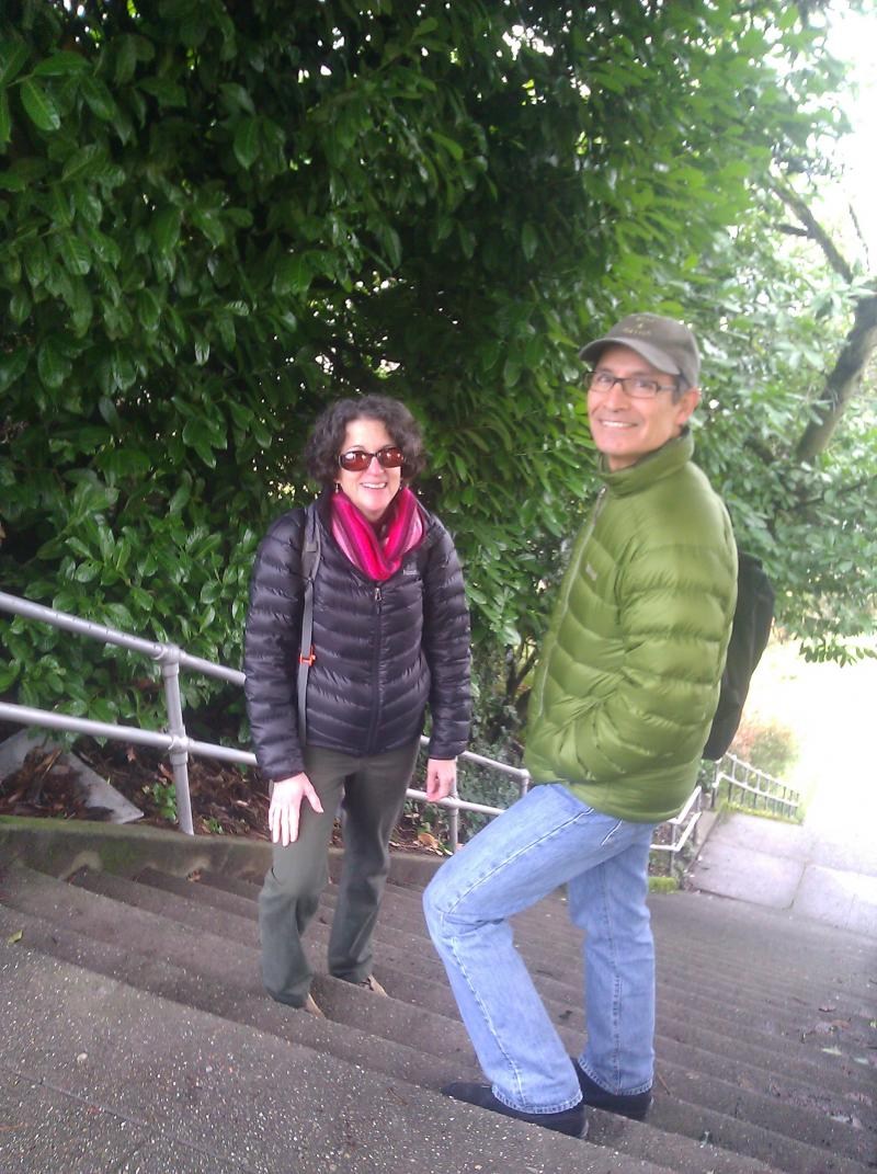 Cathy and Jake Jaramillo at the Blaine Street stairs.