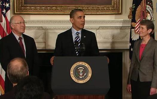President Barack Obama announcing Sally Jewell as his nominee for Secretary of Interior, with current Interior Secretary Ken Salazar looking on.