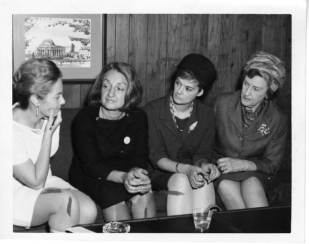 Billington(left), National Organization for Women (NOW) founder and president Betty Naomi Goldstein Friedan, NOW co-chair Barbara Ireton, and feminist attorney Marguerite Rawalt (right).