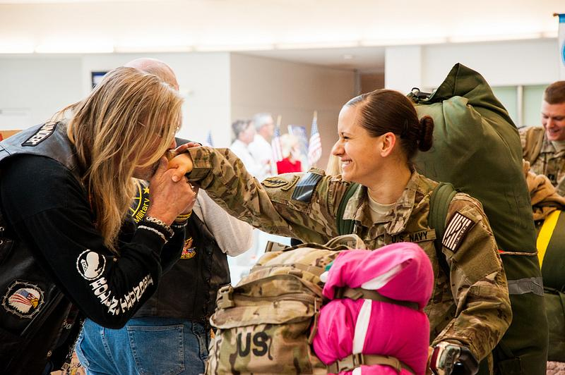 Military personnel are welcomed home, Baltimore, Maryland, Feb. 12.