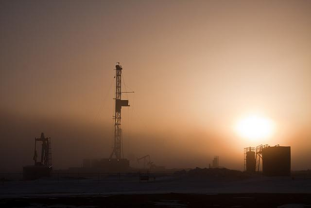 North Dakota oil field sunrise