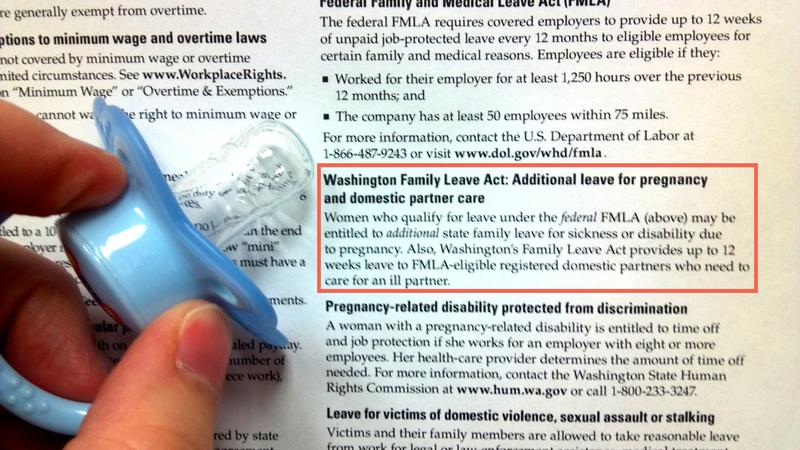 Washington law says your employer must inform you of your labor rights with this poster. The tiny text in the red box (added) tells workers of their right to additional parental leave.