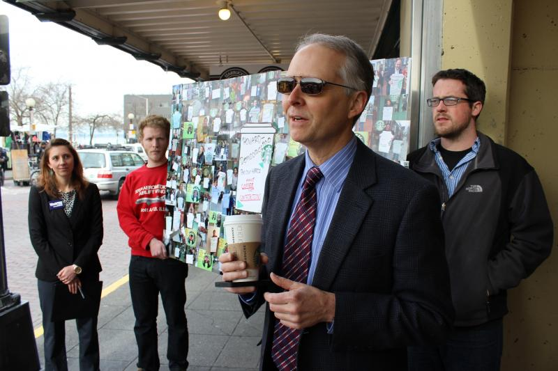 Starbucks shareholder Bruce Herbert lobbies for a proposal that would prohibit Starbucks from contributing to political campaigns.