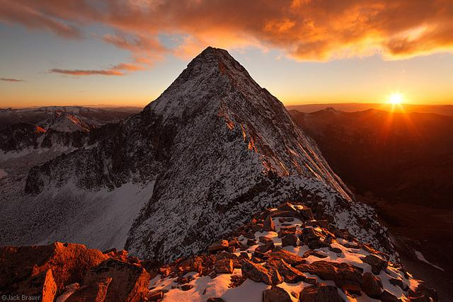 At sunset behind Capitol Peak as seen from the summit of K2.