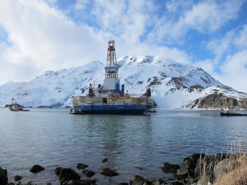 The Kulluk drill rig arriving in Dutch Harbor, in western Alaska, on Mar. 5. From there, it will be loaded on a heavy-lift ship and hauled to a dry dock in Asia.