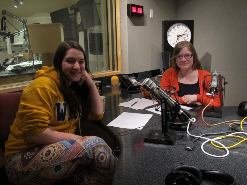 RadioActive youth producers Sarah Rosenthal (L) and Kamna Shastri in KUOW's studio, recording this program.