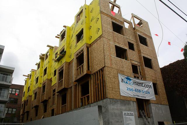 Micro-housing under construction on Capitol Hill.