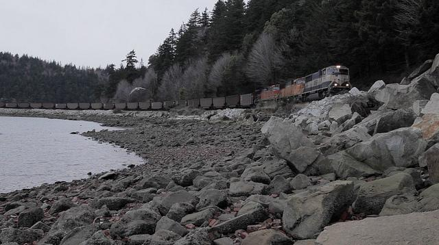 A coal train travels along Puget Sound.