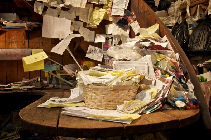 A small business in Cambridge, Mass., has piles of papers crowding the property. March 2010.