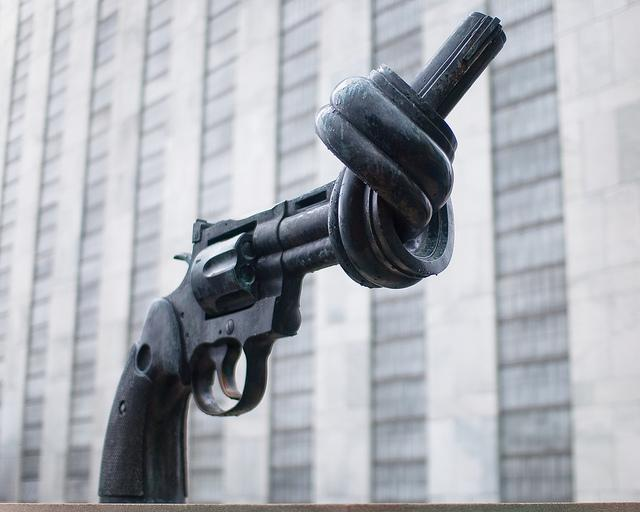 Picture of a sculpture at the United Nations headquarters in New York City taken in 2010.