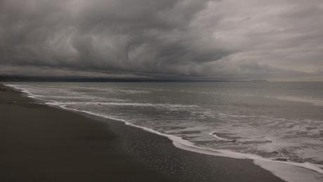 A stormy scene on the Dungeness Spit in Washington state. Climate researchers say rainfall data suggests it's getting stormier on the Olympic Peninsula.