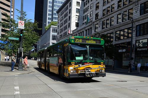 A King County Metro Bus In Downton Seattle