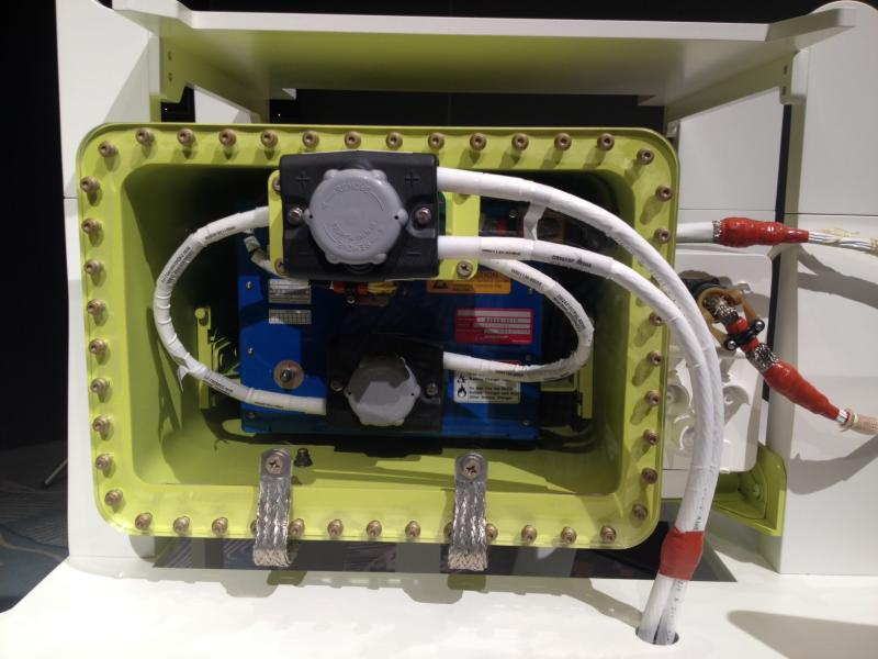 The redesigned 787 battery enclosure, which Boeing says adds another layer of protection and eliminates the potential for fire.
