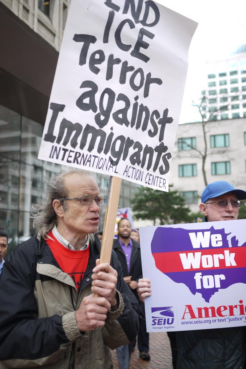 Supporters of immigration reform gather at the Federal Building in Seattle.
