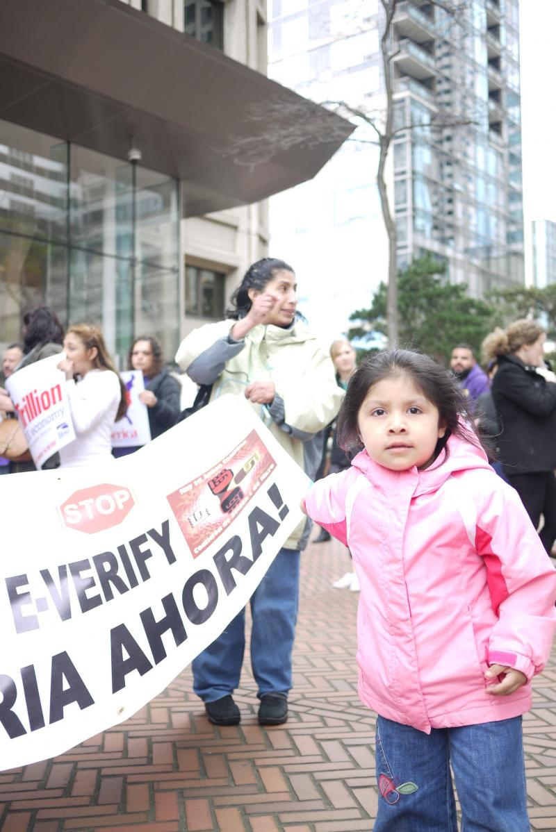 Harumy Rojas (in pink) attended an immigration rally with her mother and other families in downtown Seattle.