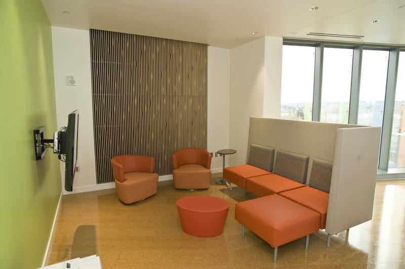 Patient lounge encourages patients to interact.