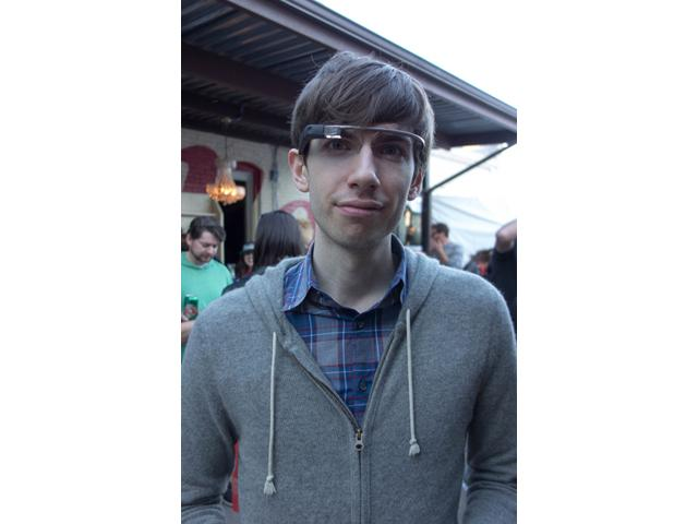 David Karp wearing Google Glass at the Tumblr party at SXSW.