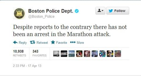 Boston police corrected media reports on Twitter during the marathon bomber manhunt.