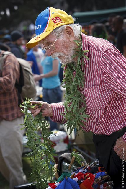 Marijuana leis at the 4/20 pro-marijuana rally in Denver, 2013.