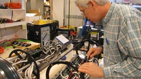 Jeff Cram, a mechanical engineer at University of Washington's Applied Physics Laboratory, oversees the engineering of a set of 12 devices like this one, which will gather information from the bottom of the Pacific off the Northwest coast.