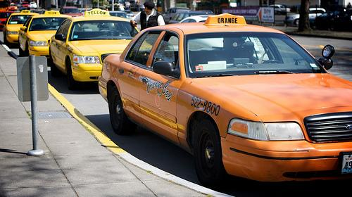 Cabs lined up in Queen Anne.