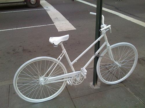 """A """"ghost bike"""" memorial to remember unidentified cyclists and pedestrians killed in collisions."""