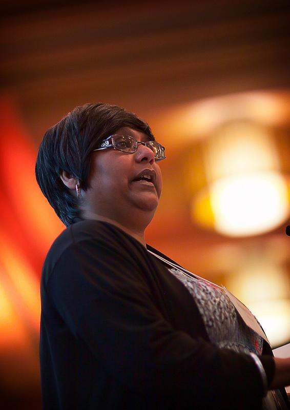 Abeda Jafar speaking at a fundraising event for Legal Voices, March 21, 2013.
