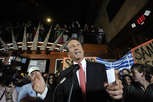 Former South Carolina Gov. Mark Sanford gives his victory speech after winning back his old congressional seat in the state's 1st District on May 7, 2013, in Mt. Pleasant, SC.