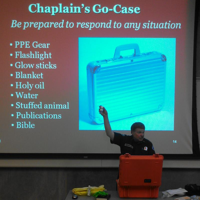 Pastor Joel Ingebritson teaching a class for on-call chaplains.