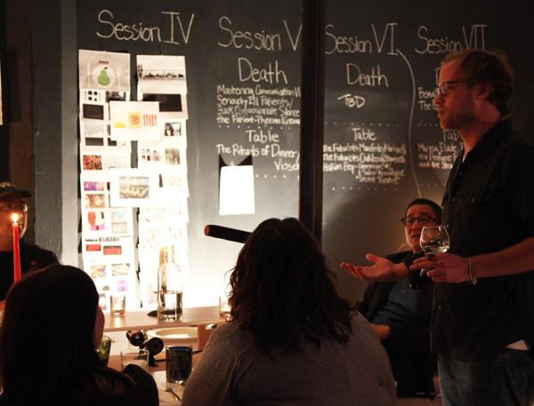 Michael Hebb leads a death dinner in November 2012.