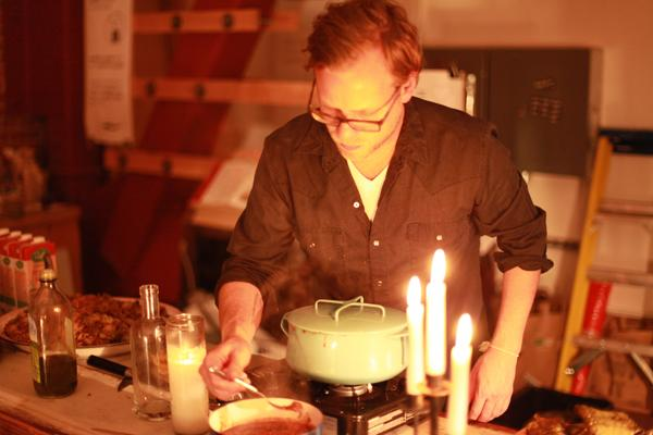 Michael Hebb cooks a meal for a death dinner.