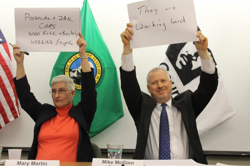 """Socialist Workers' Party candidate Mary Martin and incumbent Mayor Mike McGinn in the lightening round of the """"Super South Seattle Mayor's Forum"""""""