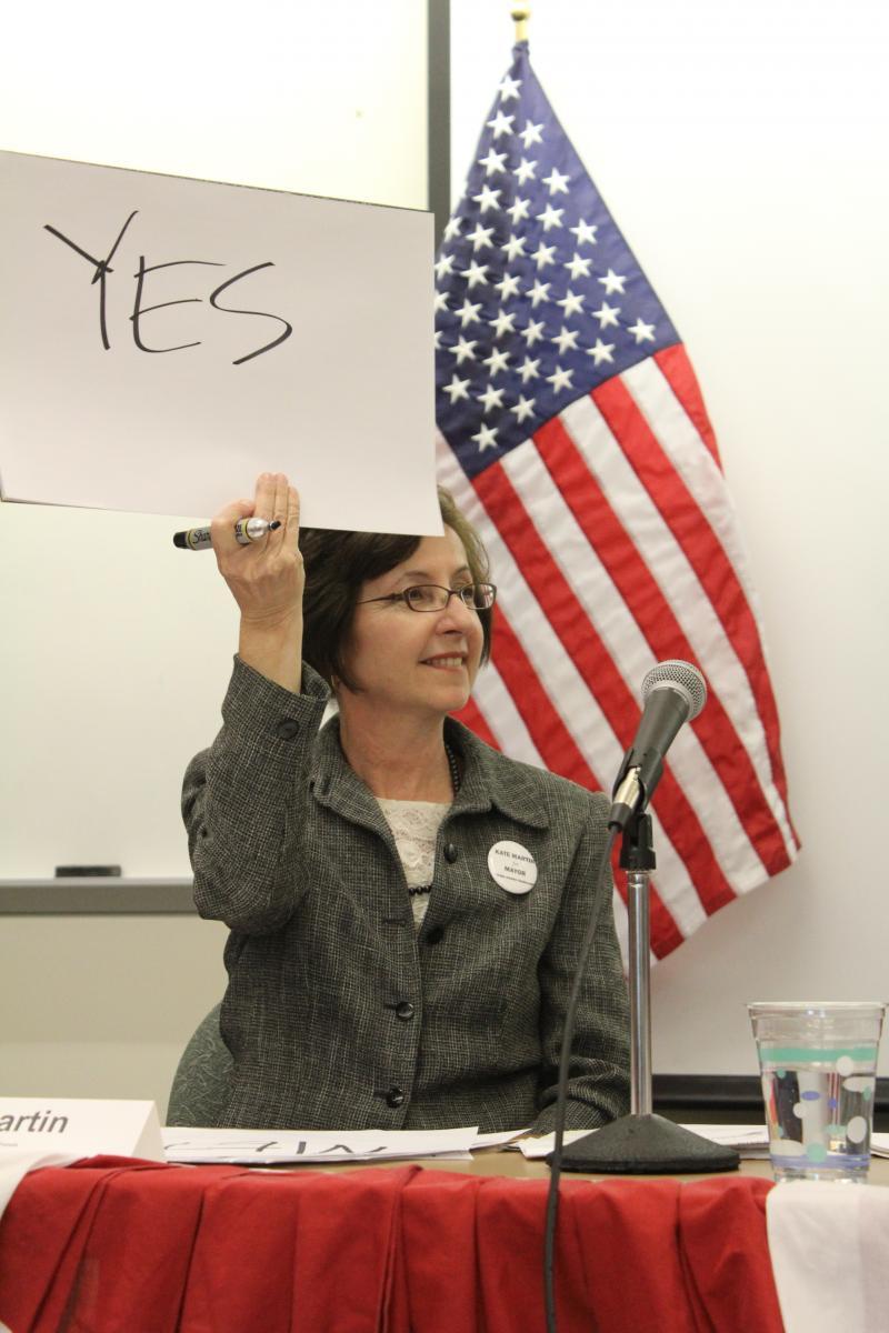 "Neighborhood activist Kate Martin at the ""Super South Seattle Mayor's Forum"""