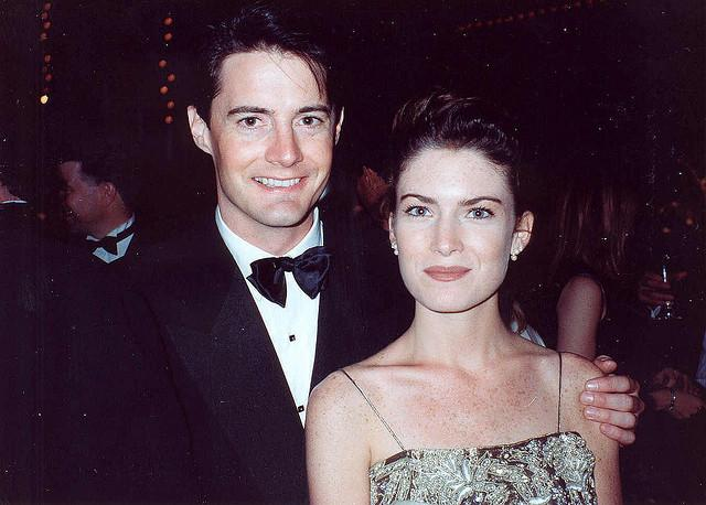 "Kyle MacLachlan and Lara Flynn Boyle from ""Twin Peaks"" at the 42nd Emmy Awards Governors Ball, September 1990."
