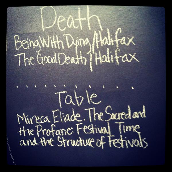 The chalkboard from a death dinner.