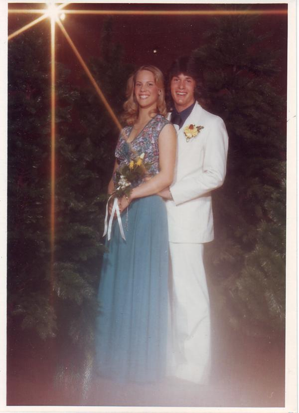 "Underwriting representative Courtney Miller at the Idaho Falls High School junior prom, aptly named ""Cool Change."" Dig the light beams. Ah, 1980."